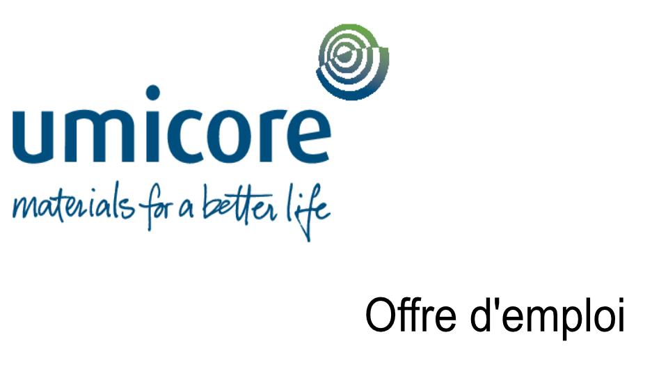 Offre d'emploi UMICORE